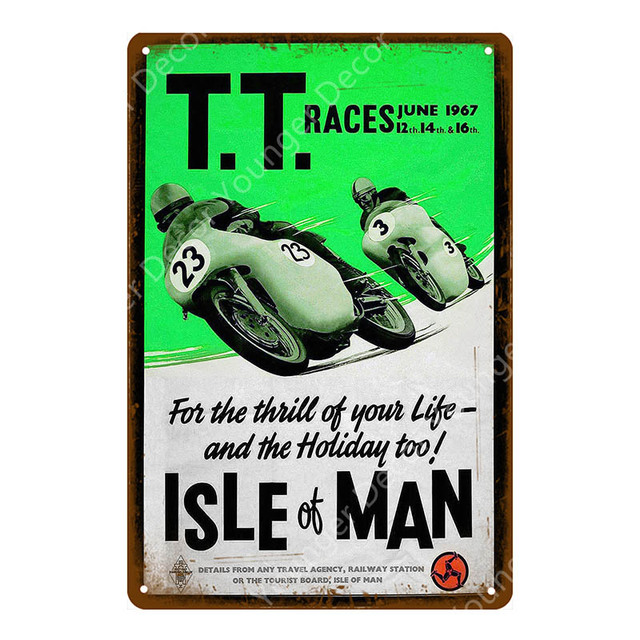 Tt Isle Of Man Metal Poster Retro Motorcycle Races Plaque Wall Art