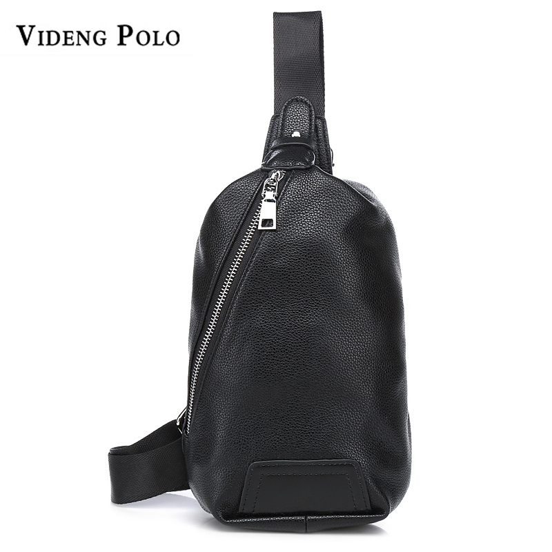 VIDENG POLO Brand Men Chest Bag Vintage PU Leather Black Small Shouder Bags  Fashion Sling Messenger Crossbody bag For Cell Phone a95b1d9060