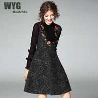 2017 Autumn Fashion Women S Suspender Swing Dress Ruffle Long Sleeve Flower Embroidery Pleated Breastplate A