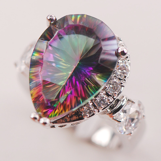 Rainbow White Mystic Crystal Zircon 925 Sterling Silver Woman Ring Size 6 7 8 9