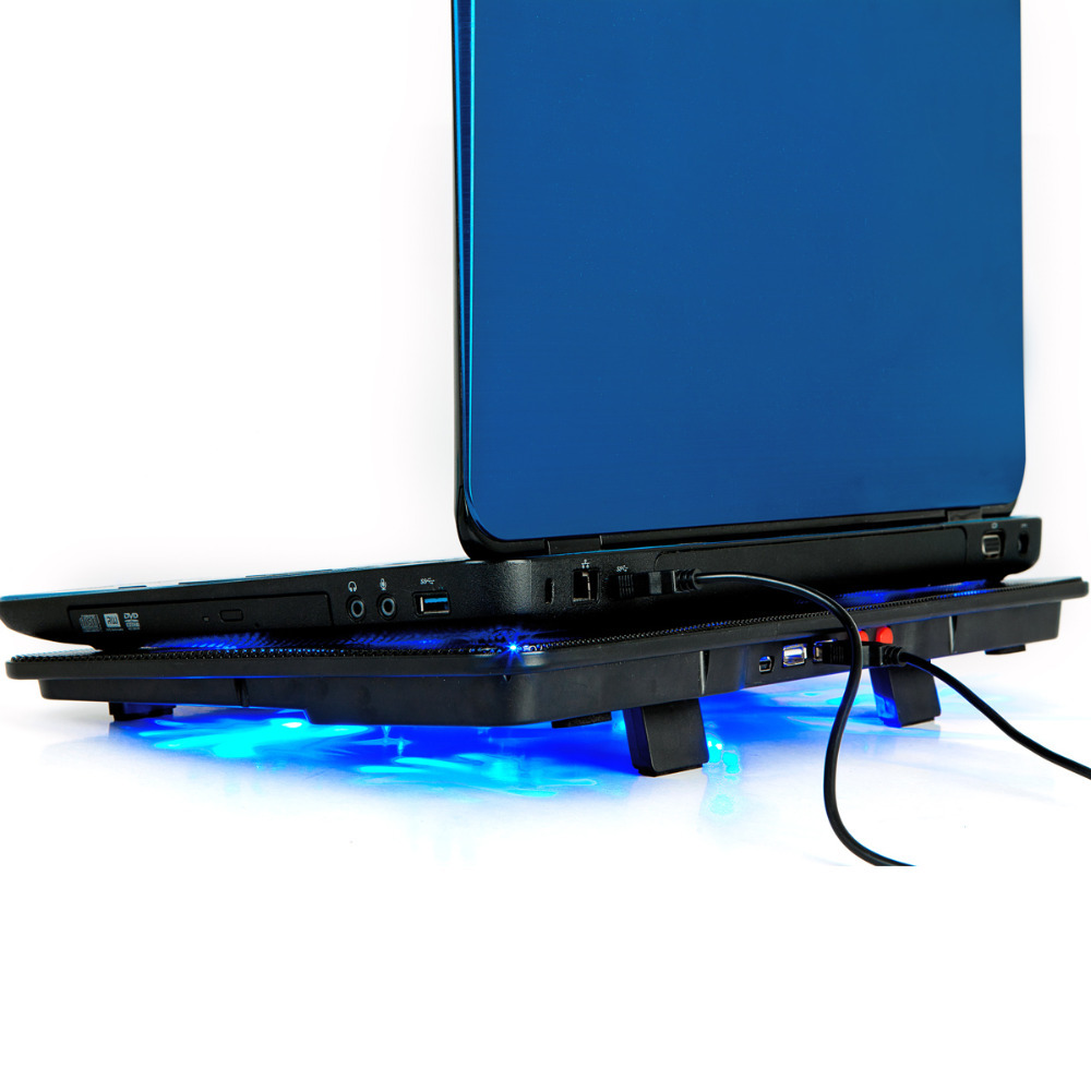 High Quality laptop cooler <font><b>17</b></font> inch 5 fans 2 USB Laptop Cooling Pad/ <font><b>Notebook</b></font> <font><b>Stand</b></font> Cooler silence LED fits 14- <font><b>17</b></font>
