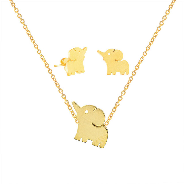 bfbcca06bd269 Aliexpress.com : Buy Cute Lucky Elephant Stud Earrings Necklaces Pendants  For Men Women Animal Jewelry Sets Rose Gold Stainless Steel Bijoux Femme ...