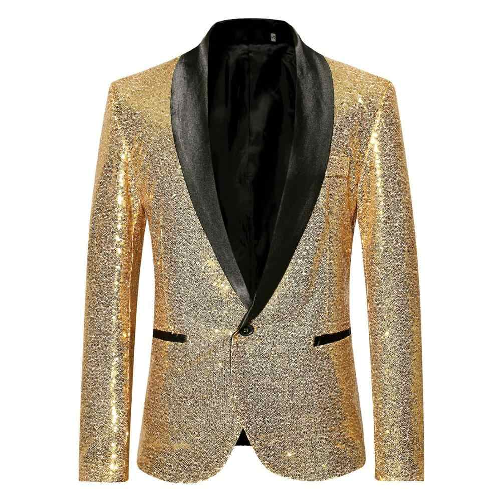 Shiny Gold Sequin Bling Glitter Pakken & Blazer Mannen 2019 Nieuwe Sjaal Kraag Club DJ Heren Blazer Jasje Stage Clothers voor Zangers XXL