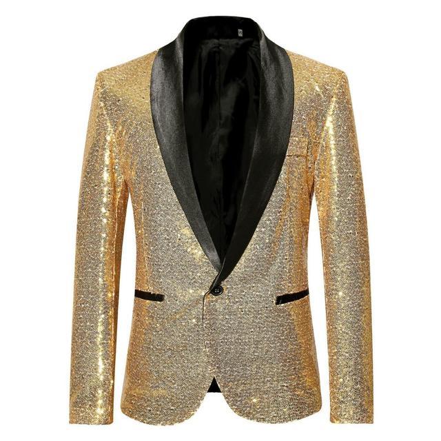 lo último 7af07 3ef1b Trajes y Blazer brillantes de lentejuelas doradas para hombre 2019 nuevo  chal Collar Club DJ chaqueta escenario los cantantes XXL