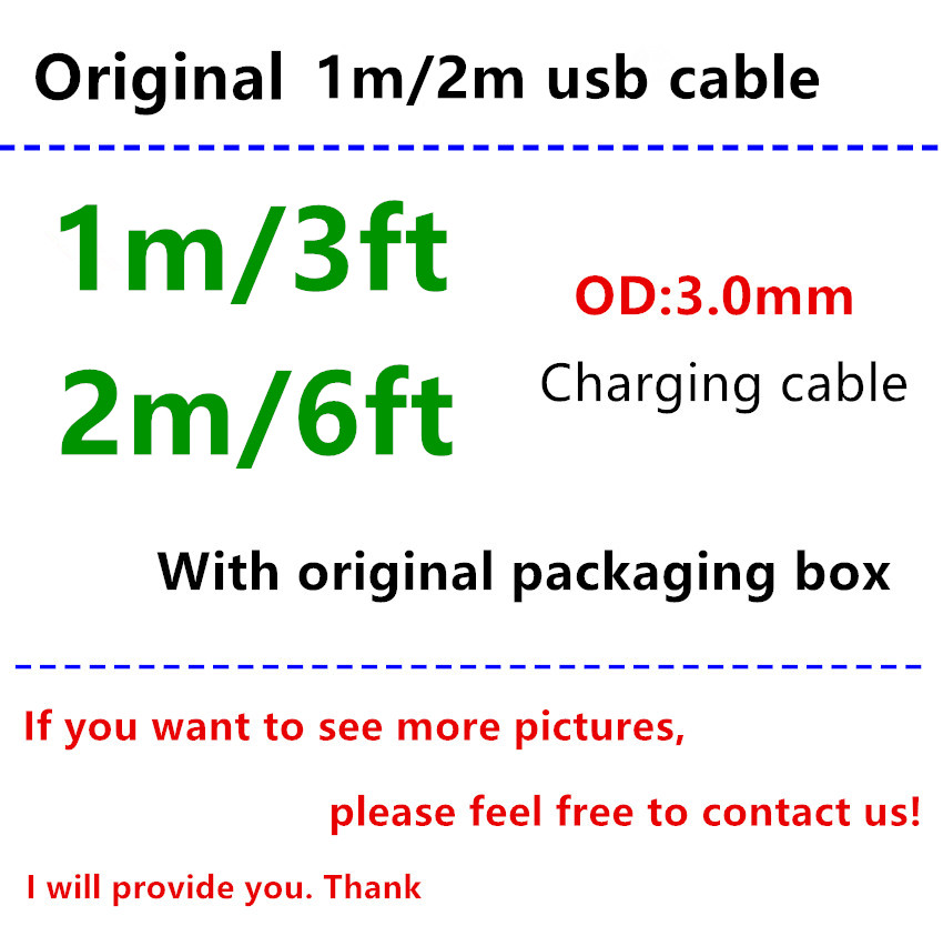 100 Set lot OD 3 0MM 1m 3ft 2m 6ft USB Data Sync Charger Cable With