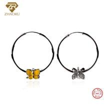 ZHAORU Authentic 925 Sterling Sliver Earrings Silver Drop for Women Enamal  Earring Fine Jewelry Fashion Gift
