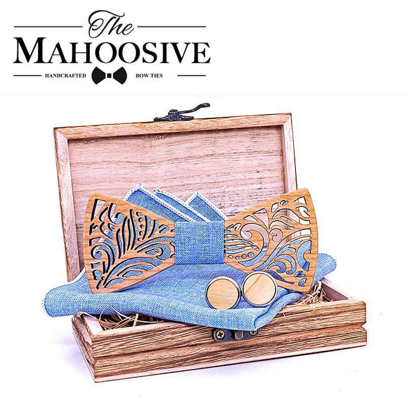 Cut Out Wooden Bow Ties For Men Ties Wood Bowtie Handmade Butterfly Wood Bow Tie Gravata Gift Cufflink Handkerchief Set