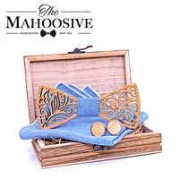 Cut Out Wooden Bow Ties for Men ties Wood Bowtie Handmade Butterfly Wood Bow Tie Gravata gift Cufflink handkerchief Set
