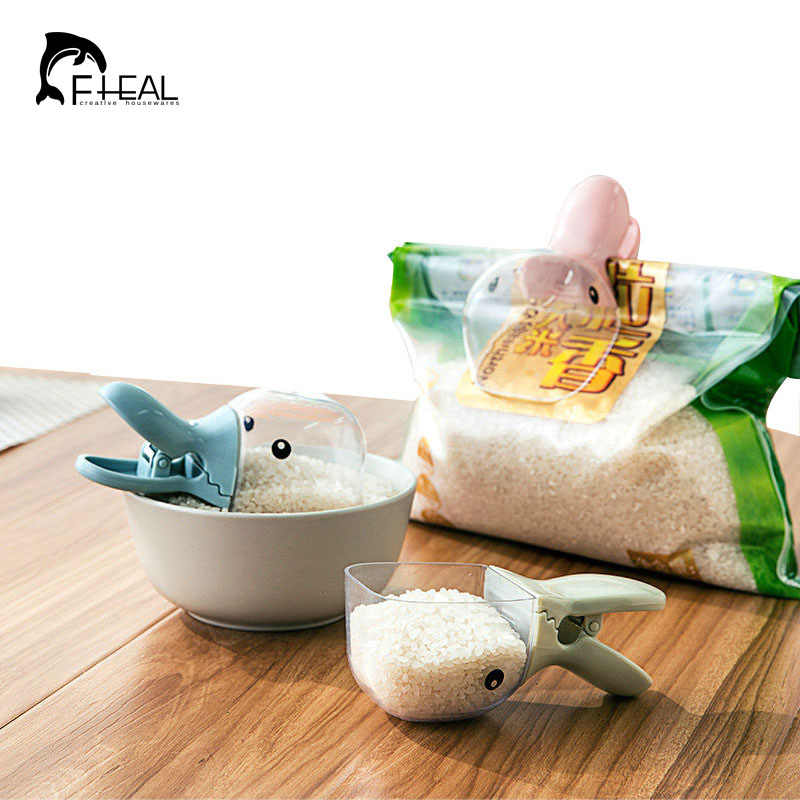 FHEAL Household 2 in 1 Creative Duck Shape Plastic Shovel Handled Spoon + Bag Clip Food Sealing Clip Kitchen Accessories