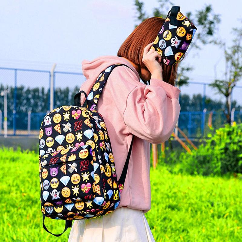 3d Cute Smile Printing Backpacks Women Teenage Girls Travel Nylon Shoulder School Bags Rucksack Hot Sale Students New Backpack #3