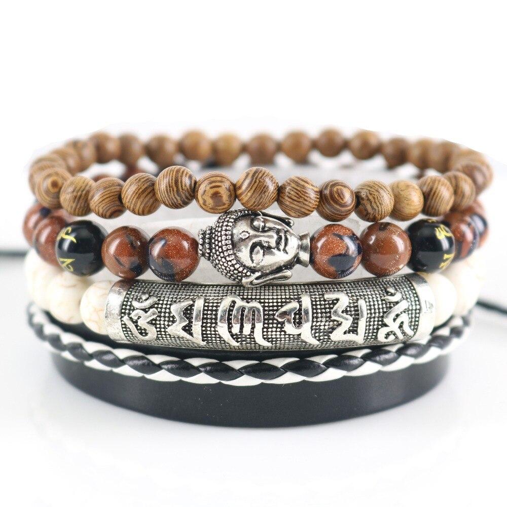 Beasivor Braun Sand Steinen Perlen Buddha Armbänder Leder Wrap Männer mode Armbänder & Armreifen Multi 4 schichten om mani padme hum