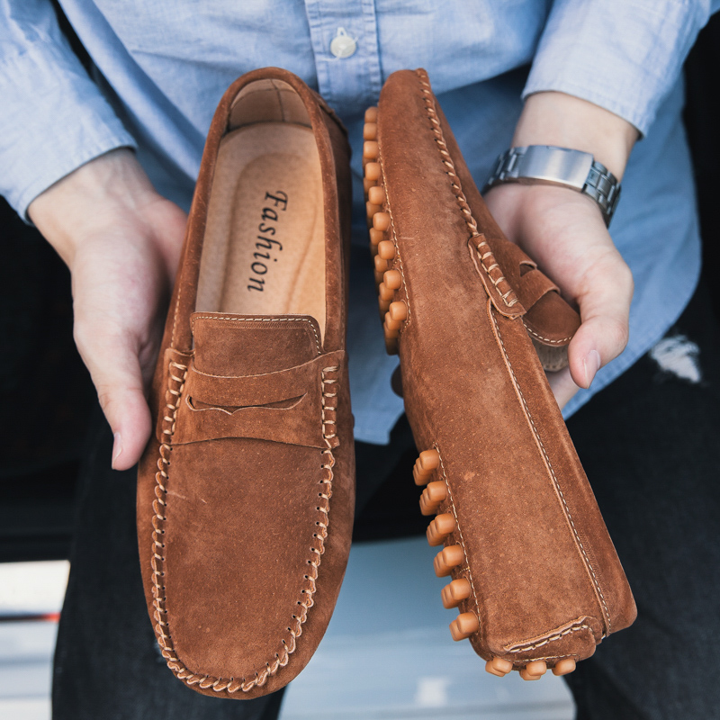 Moccasins Driving-Shoes Fur Loafers Casual-Shoes Suede Brown Flats Slip-On Mans Men's
