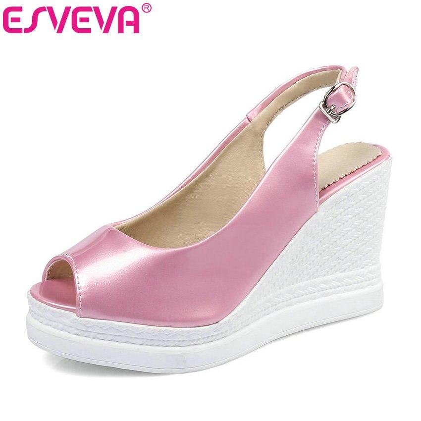 ESVEVA 2017 Platform Wedding Summer Shoes Peep Toe White Pink Women Pumps Wedges High Heel Slingbacks Party Shoes Big Size 34-43