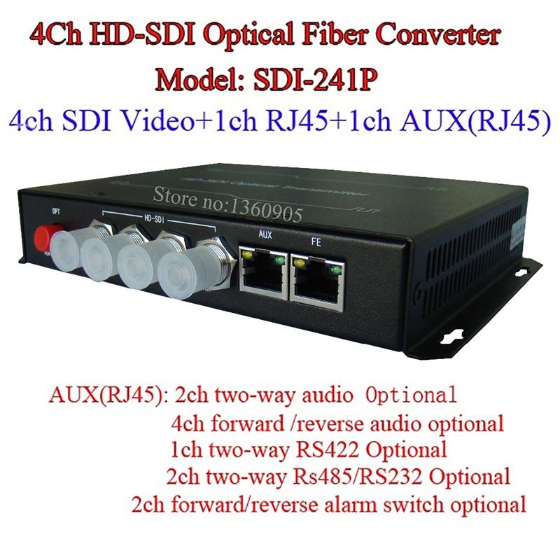 4CH HD-SDI Multifunction Optical Media Converter -Video/Audio/Ethernet RJ45/RS485 Data /Alarm Over Single Fiber 20KM Single Mode