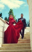 Red Hijab Muslim Evening Dresses with Long Sleeve Appliques Turkish Islamic Clothing Abaya Dubai Kaftan musulman robe de soiree