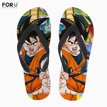 FORUDESIGNS Soft Rubber Slippers Dragon Ball Print font b Anime b font Style Men Summer Flip