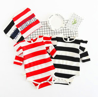 New 2017 fashion baby boy clothes long sleeve baby rompers + hat newborn cotton baby girl clothing jumpsuit infant clothing