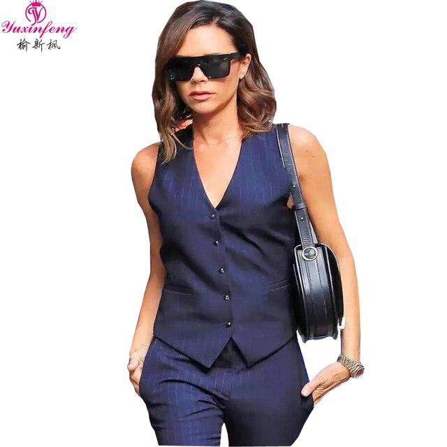 2016 Elegant Women Pants Set V Neck  Sleeveless Stripe Vest+pants Suits Women 2 Pieces Set  Victoria Beckham Pants Suits