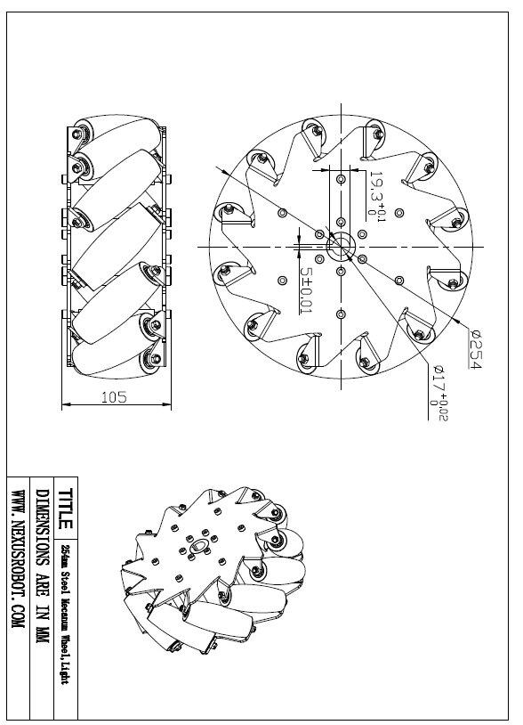 10 Inch Ağır Mecanum Təkərlər Nexus 14141 (Yük tutumu: 320 kq / - Məktəb və tədris ləvazimatları - Fotoqrafiya 3