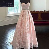 Vintage Lace Wedding Dresses Sweep Train Lace Up Back Vestido De Novia 2018 Beaded Sashes Robe