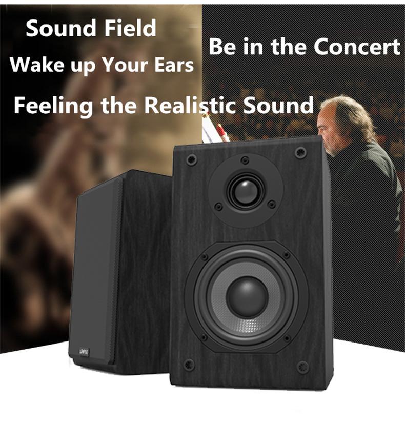 LONPOO Bookshelf Speaker Passive Pair 2-Way 75W *2 Classic Wooden Loudspeaker with 4-inch Carbon Fiber Woofer Tweeter Speaker 3