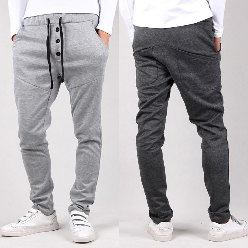 2019 Harem Pants New Style Fashion Casual Skinny Sweatpants Black Pants Trousers Drop Crotch Sweat  Pants Men Joggers Cheap Gray