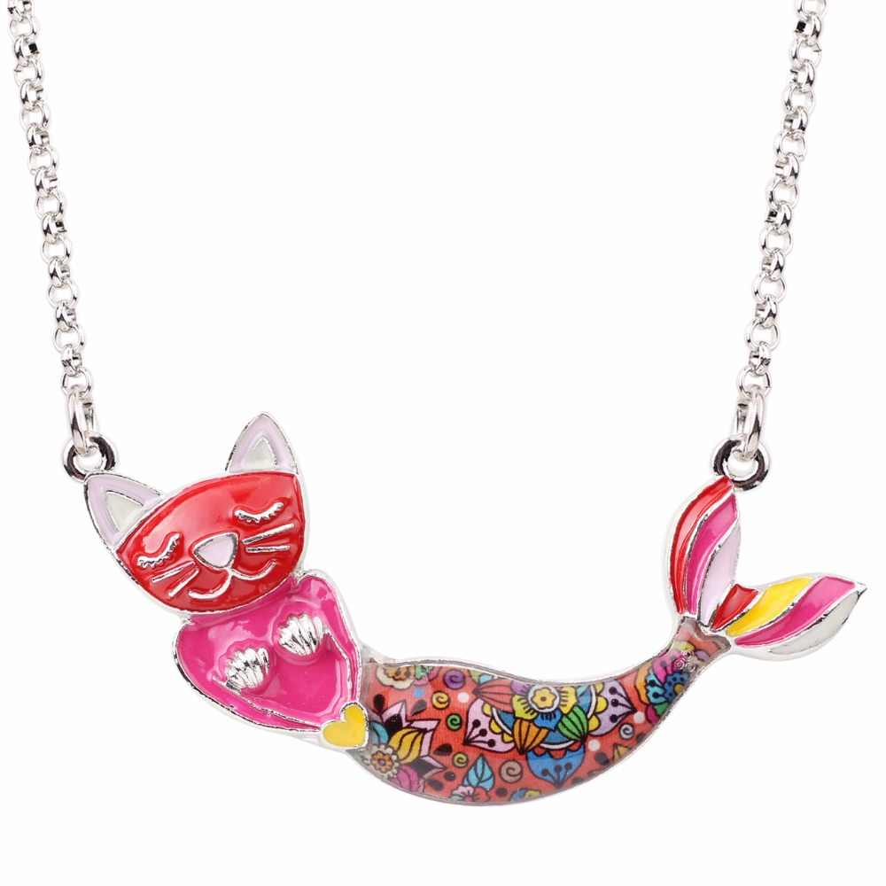 Bonsny эмалированная металлическая цепочка, ожерелье с котом и русалочкой, колье-чокер, воротник 2017, новинка, модные макси ювелирные изделия для женщин