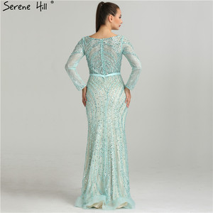 Image 3 - 2020 Long Sleeves Luxury Sparkly Tulle Evening Dresses V Neck Mermaid Beading Sequined Evening Gown Real Photo LA6396