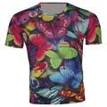 2016 verão Camiseta camisa Kid Animal borboleta colorida t-shirt dos meninos roupas meninas crianças camisetas roupas Fit 95 cm - 155 cm menino