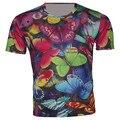 2016 verano Camiseta de la camisa del cabrito Animal del dibujo animado colorido de la mariposa T-shirt muchachos muchachas de la ropa de los niños camisetas de la ropa ajuste 95 cm - 155 cm Boy