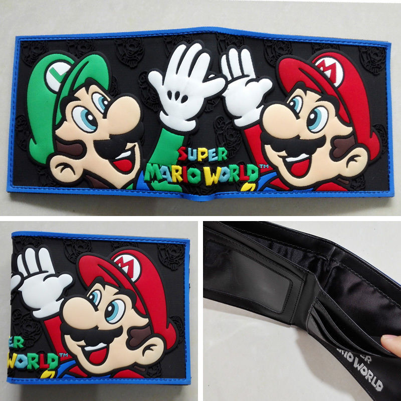 Nintendo SUPER MARIO BROS. Logo wallets Purse Multi-Color Plastic Leather W139 ...