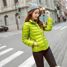 2016 новый Тонкий тонкий с капюшоном короткий пуховик пальто Женщин