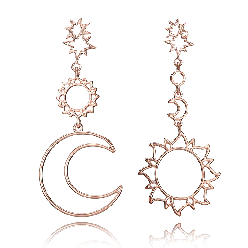 docona Rose Gold Star Moon Drop Dangle Earrings for Women Girl Hollow Geometric Pendant Earring Trendy Jewelry Pendientes 3023 3