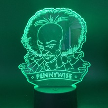3d Led Night Light Movie It Chapter One Pennywise Figure for Office Room Decor Usb Battery Powered Halloween Horror Table Lamp