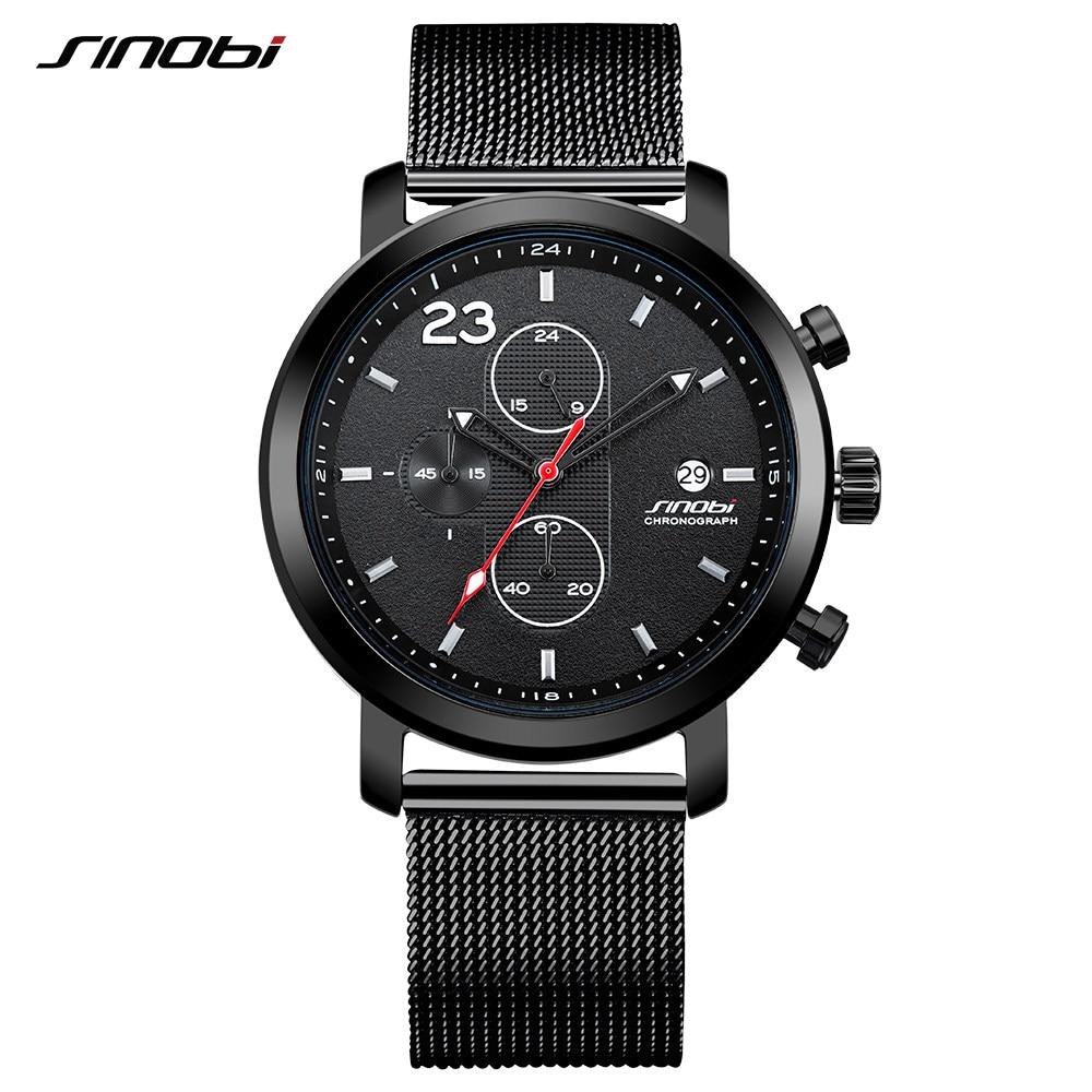 SINOBI Genuine Fashion Sport Wrist Watch Men Multi function Calendar Stainless Steel Retro Black Milan Mesh Band Quartz Watches