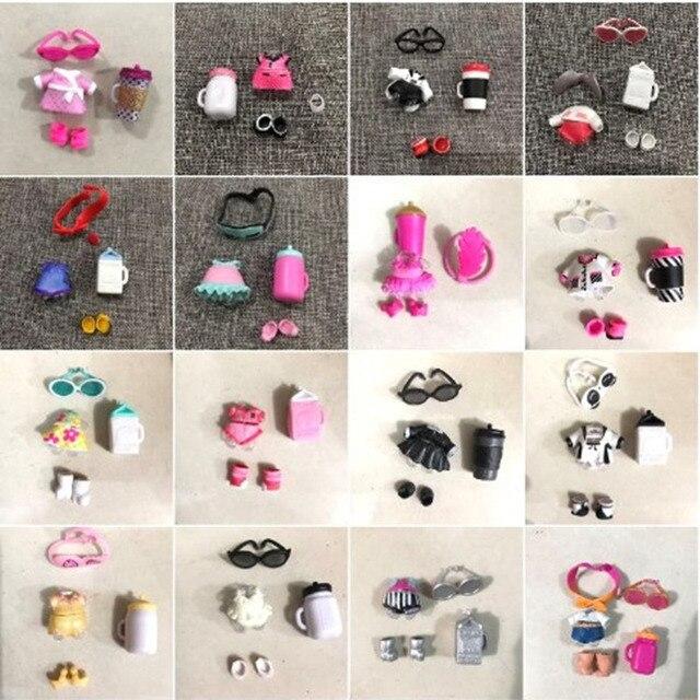 1 conjunto garrafa óculos sapatos Accessorries lol LOL Boneca roupas Headwear acessórios para o cabelo à venda Original coleção Aleatória envio