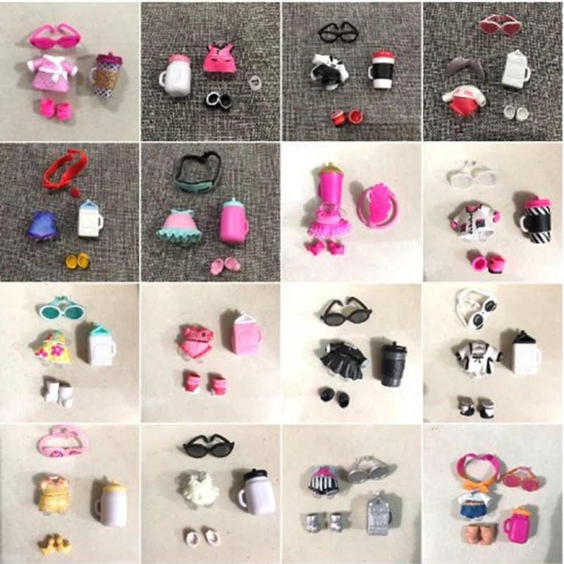 1 مجموعة لول ملابس دمى أغطية الرأس نظارات زجاجة الأحذية اكسسوارات LOL للبيع الأصلي جمع رذاذ الماء الدمى