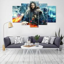 Framed 5 PCS HD Print Canvass Wall Art – Game of Thrones Jon Snow