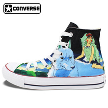 Anime Converse All Star Man Woman Shoes Princess Mononoke Wolf  Miyazaki Hayao Design Hand Painted Sneakers Skateboarding Shoes