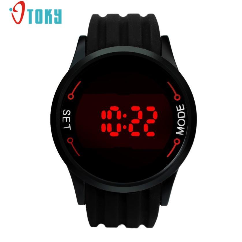 Moda À Prova D' Água Mens Relógios Touch Screen LED Watch Data Mostrador Preto Relógios de Pulso do Silicone Criativo Apr14