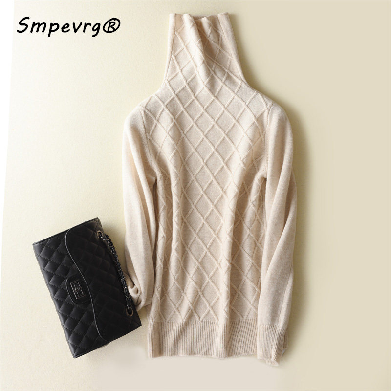 Smpevrg fine cashmere sweater women sweaters and pullovers long sleeve high neck warm ladies pullover women knitted top clothing