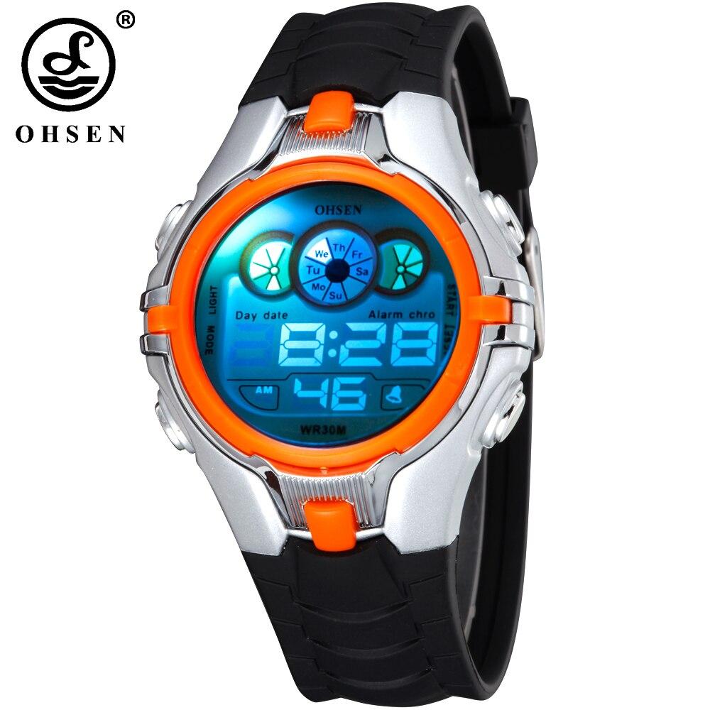 Nueva OHSEN Digital niños deporte reloj alarma fecha Día cronógrafo 7 colores LED luz trasera 3ATM Waterproofed reloj