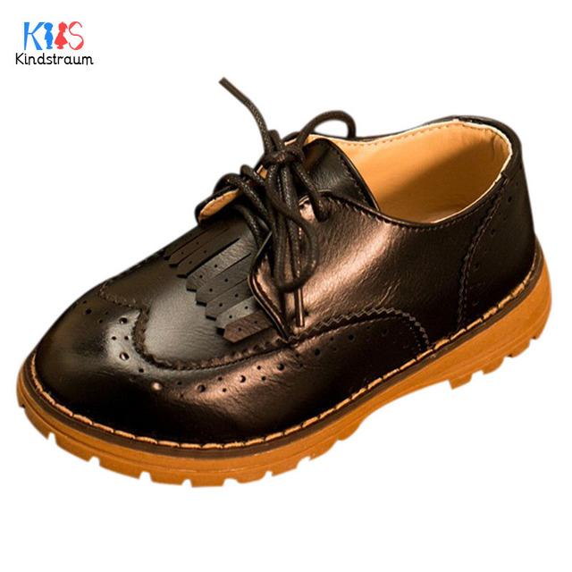 2017 Nuevos Niños de Cuero de LA PU Martin Botas Niños Del Estilo Barroco tassle lace up oxford shoes for boys & girls moda desgaste, EJ030