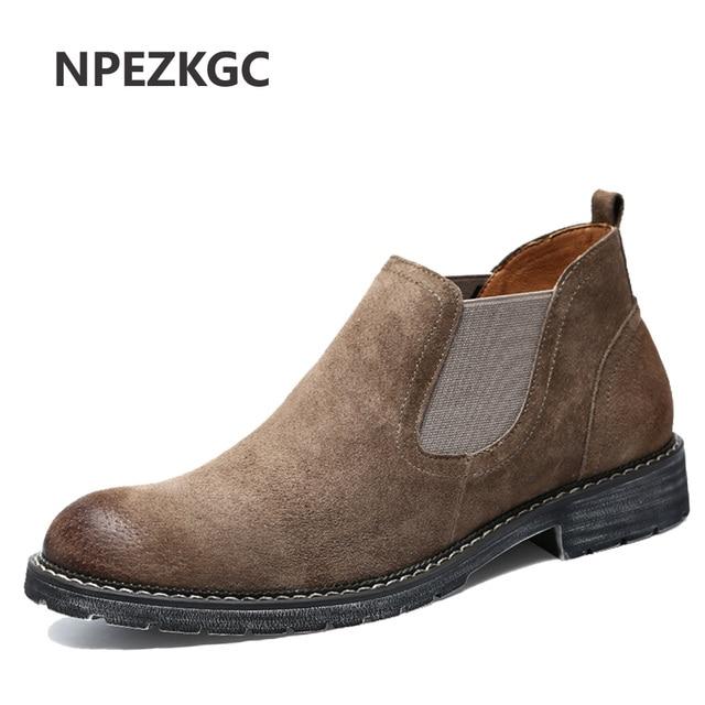 ce52a9d016cc3 NPEZKGC New Chelsea Stivali Stivali da Uomo Casual scarpe A Punta Autunno  Inverno Mucca Camoscio Maschio