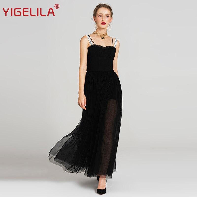 YIGELILA Summer Women Black Mesh Long Fashion Sexy Spaghetti Strap Empire Slim Maxi Backless Party Dress For Fashion Week 62919