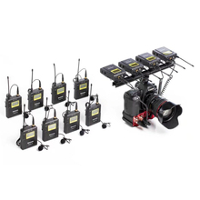 Saramonic Wireless UHF Lav Microphone System with 8 Transmitters, 4 Receivers, and Audio Mixer for DSLR Camera Video Recording
