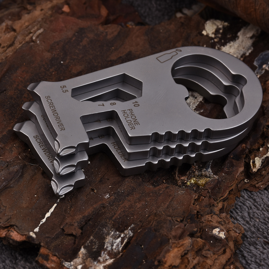Completo Acero inoxidable multi Tool Kit EDC mosquetón llavero clip plata senderismo escalada botella Herramientas de exterior