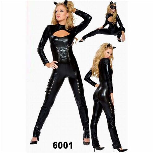 Free shipping 2016 New Arrival Sexy Gothic Punk Fetish Black Latex Catsuit Faux Leather Costume PVC Bodysuit Catwoman Jumpsuit