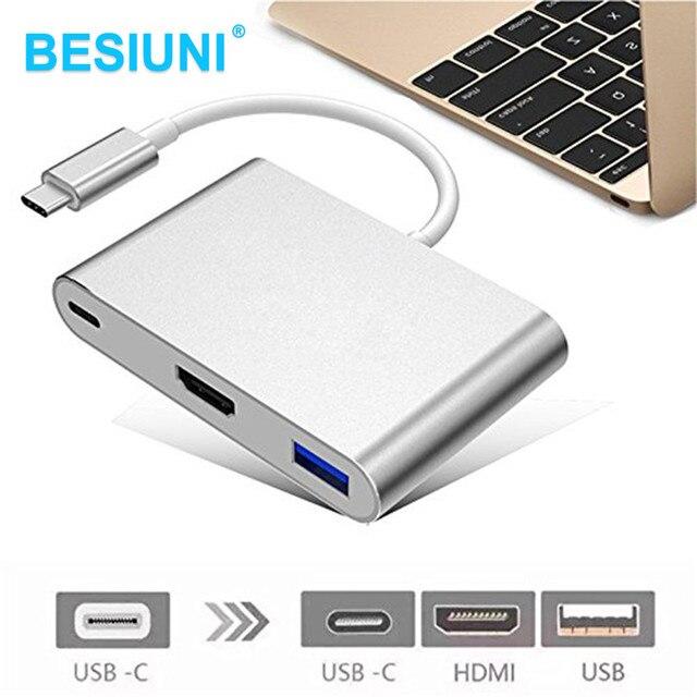Besiuni USBC 3,1 Konverter USB C Typ Zu USB 3.0/HDMI/Rollenmaschinenlinie Typc Weibliche Ladegerät Adapter für Apple Macbook und google Chromebook Pixel