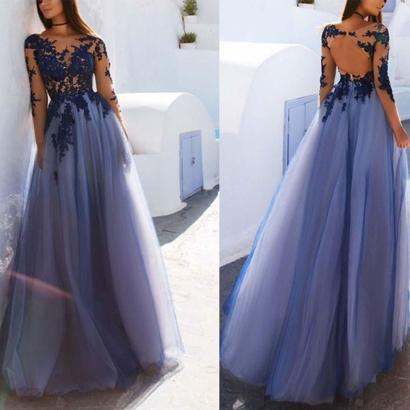 New Arrival Lace Evening Dresse Formal Party Gown Vestido Noiva Sereia Long Sleeves A-LINE Prom Party Robe De Soiree Illusion